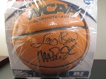 Larry Bird and Magic Johnson Dual Signed NCAA Basketball - Steiner Holo & COA