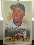 Hank Aaron - Signed 1989 Perez Steele 50th Anniversary postcard - JSA Certified w/ Card and sticker -
