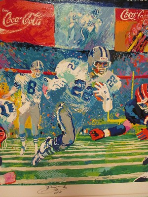 """Georgia Dome"" Leroy Neiman Lithograph of Super Bowl XXVIII - Signed by Leroy Neiman & Emmitt Smith"